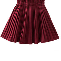 Burgundy High Waist Woolen Pleated Skirt