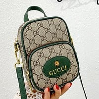 GG new product stitching color letter printing ladies small mobile phone bag shoulder bag cosmetic bag Green