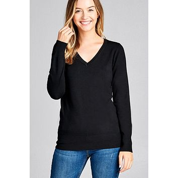 Classic Long Sleeve V-Neck Sweater