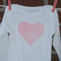 valentine's day outfit for baby girls, pink minky heart on white long sleeve bodysuit, baby gift for valentine's day