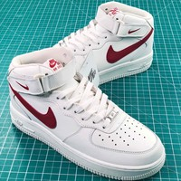 Nike Air Force 1 Mid Af1 07 White Red Sport Shoes - Sale
