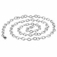 24 inch Oval Cable Link Stainless Steel Necklace Chain