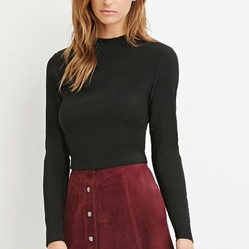 Contemporary Zip-Back Ribbed Top