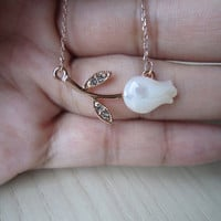 Clavicle chain , opal, tulips, flowers, gold, ultra-fine, 18K rose gold, short chain,  Special love, special gift