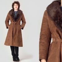70s Dark Brown Shearling Coat / Fur Collar Belted Coat / Boho Gipsy Medium M Coat