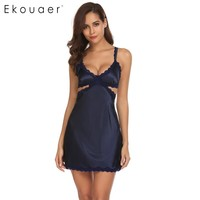Ekouaer Women Sexy Lingerie Lace Trim Cut Out Backless Satin Babydoll Chemise Sleepwear Night Wear Summer 2018 New Home Dress
