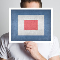 Nautical Flag Print - Letter W - Simple and Modern - Weathered Look