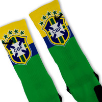 Brazil Soccer World Cup Custom Nike Elite Socks