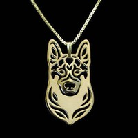German Shepherd Dog Face Cut Out Shaped Pendant Necklace in Gold | Animal Jewelry