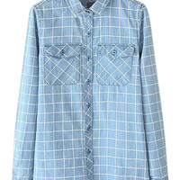 Faded Blue Long Sleeve Denim Shirt with White Grid Details
