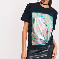 Maralee Black Oversized Holographic Foil Print T Shirt