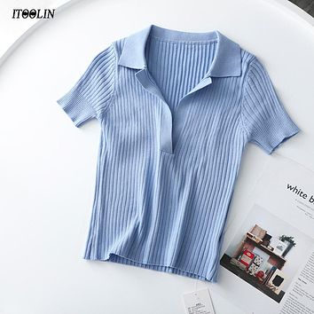 Crop Top Polo Shirts Summer Short Sleeve T-shirt Women Vintage Clothes Ribbed Solid Slim Knit Top Cropped Tees