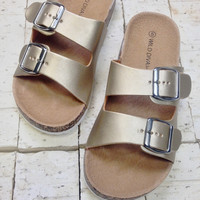 Motia Gold Two Strap Sandal