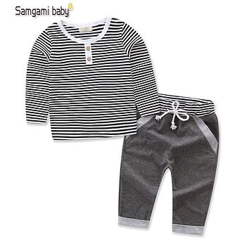 Baby Boy's clothing sets children clothes suit Kids sport sets cotton child stripe shirts+trousers