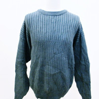 Vintage 1990s Grey Acrylic Knit Ribbed Jumper Sweater Large