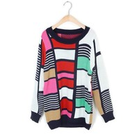 ZLYC Stylish Scoop Neck Colorful Splicing Casual Christmas Sweater For Women