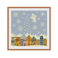 Christmas cross stitch, Winter cross stitch, Winter in the city, Winter is coming, Silent night, Snowflakes, Angel, Modern cross stitch, PDF