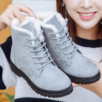 Winter snow boots thicker Martin boots warm boots with flat boots Grey