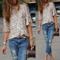 Off shoulder sequined blouse top