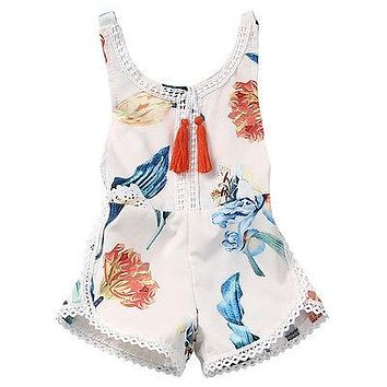 born Kids Baby Girl Sleeveless Lace Romper Lily printing Jumpsuit Clothes Sun suit Outfits