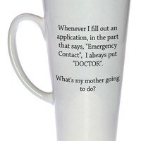 Emergency Contact - Call the Doctor! Coffee or Tea Mug, Latte Size