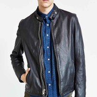 Schott Beatdown Cafe Leather Racer Jacket - Black