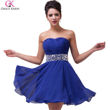Elegant Blue Red Prom Dresses 2017 Grace Karin Chiffon Strapless Knee Length Short Formal Dress For Wedding Party Gowns CL4792
