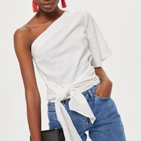 One Shoulder Crinkle Blouse