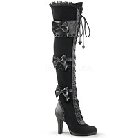 """Glam 300 Lace Up  Bow Detail 3.75"""" High Heel Thigh Boot  6-12"""