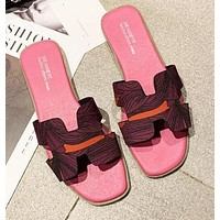 Hermes Fashion Women Leather Slipper Sandals Shoes