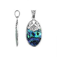 AP-1130-AB Sterling Silver Pendant With Abalone Shell