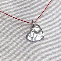 Fine SIlver Hammered Heart Cord Necklace, .970 Silver Tiny Dangling Heart, Minimalist, Wabi Sabi Necklace, Wish Necklace, Simple Jewelry
