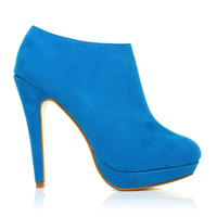 H20 Turquoise Faux Suede Stilleto Very High Heel Ankle Shoe Boots