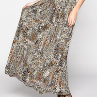 Lily White Tribal Print Maxi Skirt Multi  In Sizes