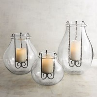 Round Glass Hurricane Candle Holders