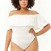 Plus Size Off-the-Shoulder Flounce Bodysuit