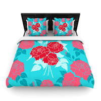 "Anneline Sophia ""Summer Rose Red"" Blue Aqua Woven Duvet Cover"