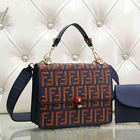 Fendi Women Fashion Shopping Leather Multicolor Shoulder Bag Satchel Crossbody