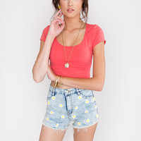Lucy Basic Crop Top - Coral