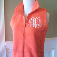 Monogrammed Fleece Vest, Women's sizes, bright colors, personalized or greek