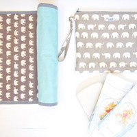 Choose Your Color: Ex-Large Zippered Wet Bag Pouch Nappy Diaper Wallet with a Wristlet - Elephants