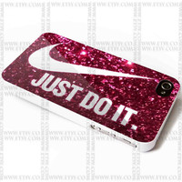Nike Just Do It on Pink Sparkle Glitter - iPhone Case 4/4S, 5/5S, 5C and Samsung Galaxy S3, S4 Case.