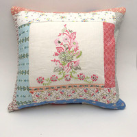 """Handmade Patchwork Pillow, Vintage Fabrics and Trim, Quilted Pillow with Vintage Embroidery Upcycle, Shabby Chic, 15"""" x 15"""" Throw Pillow"""