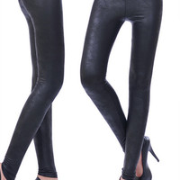 Fashion of tall waist imitation leather leggings