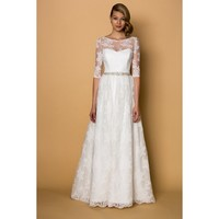 Marvelous Sleeved Boat Neck Taffeta and Lace A-line Wedding Dress