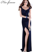 Sexy V-Neck Brief Solid Color Elegant Sleeveless Stretched Maxi Split Prom Bodycon Long Dress
