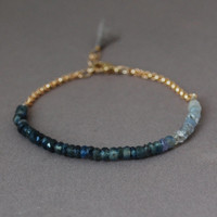 Ombre Blue Sapphire Gemstone Beaded Gold Bracelet also available in Silver