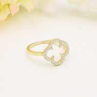 925 sterling silver gold vermeil plated cubic zirconia lucky clover ring