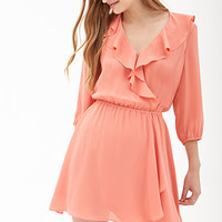 FOREVER 21 Ruffled Surplice Dress Coral