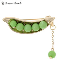 DoreenBeads Japanese style Cute Green pea brooch Gold Plated Statement accessory sweater collar brooch pin sweater suit Brooch
